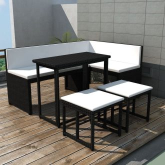 5 Piece Outdoor Dining Set Steel Poly Rattan Black 1