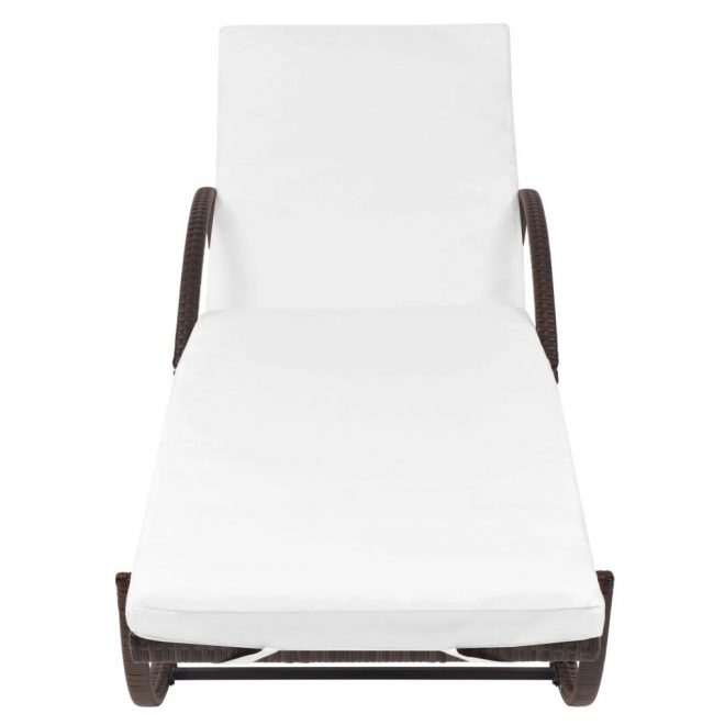 Sun Lounger with Cushion Poly Rattan Brown 4