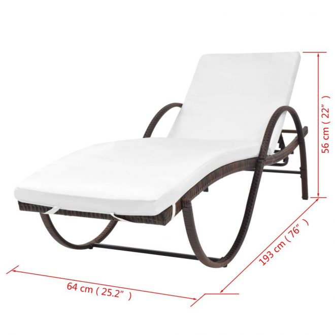 Sun Lounger with Cushion Poly Rattan Brown 7