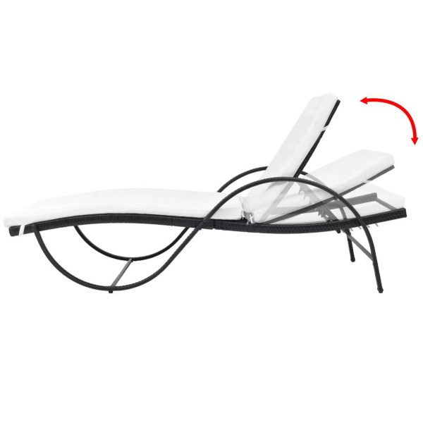 Sun Lounger with Cushion Poly Rattan Black 2