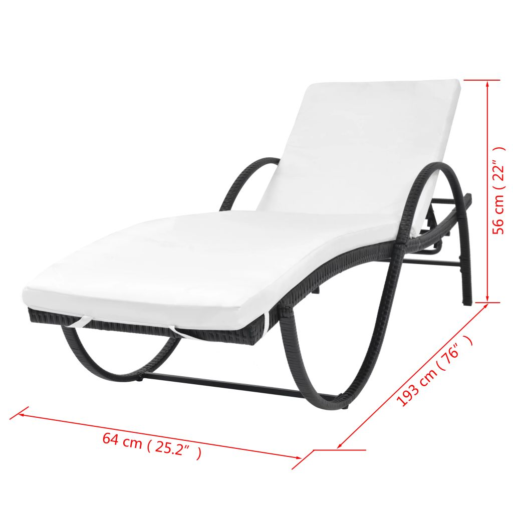 Sun Lounger with Cushion Poly Rattan Black 7
