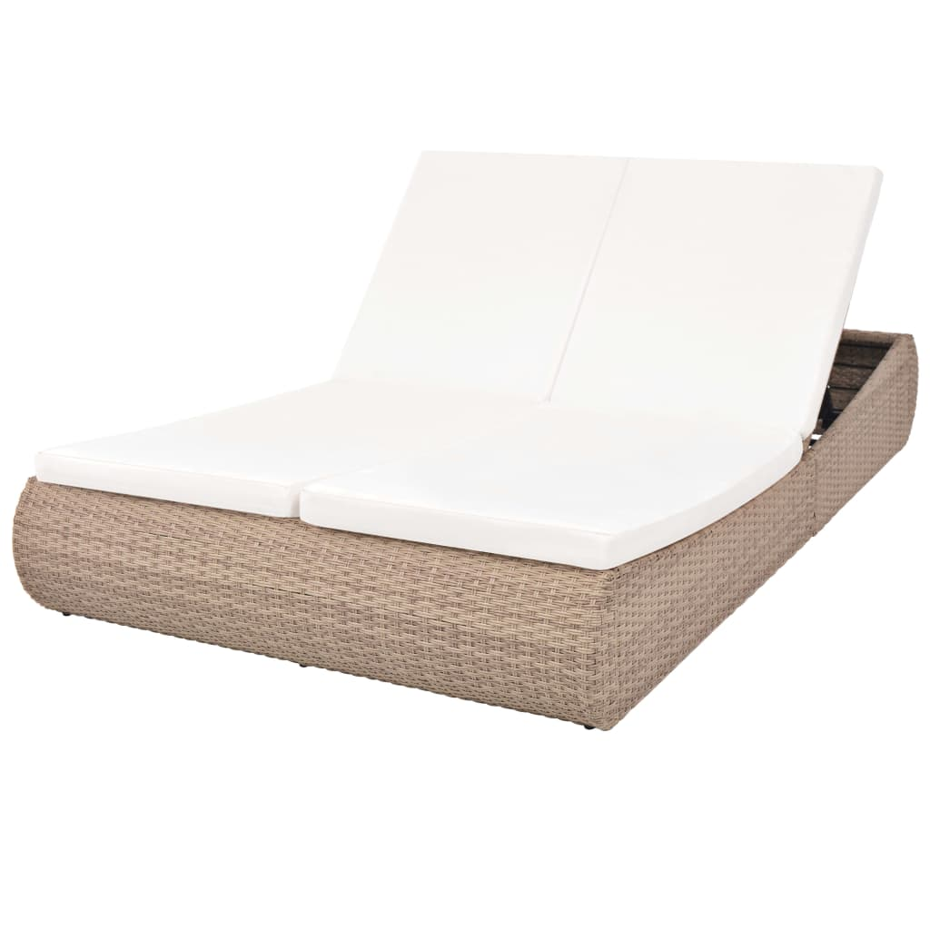 Outdoor Lounge Bed Poly Rattan Beige 1