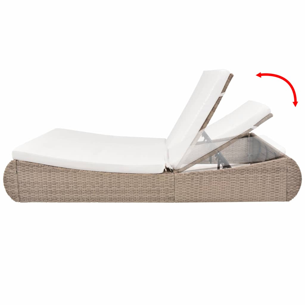 Outdoor Lounge Bed Poly Rattan Beige 3