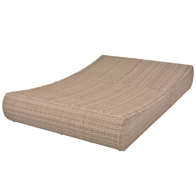 Outdoor Lounge Bed Poly Rattan Beige 6