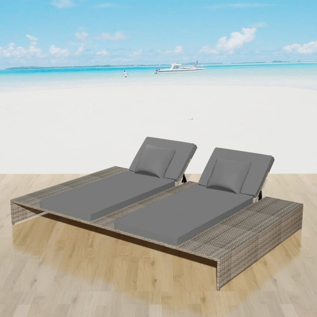 Double Sun Lounger with Cushion Poly Rattan Grey