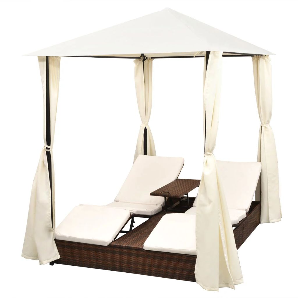 Double Sun Lounger with Curtains Poly Rattan Brown 2