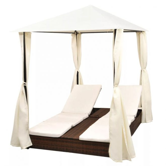 Double Sun Lounger with Curtains Poly Rattan Brown 3