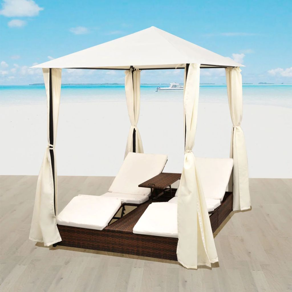 Double Sun Lounger with Curtains Poly Rattan Brown 1