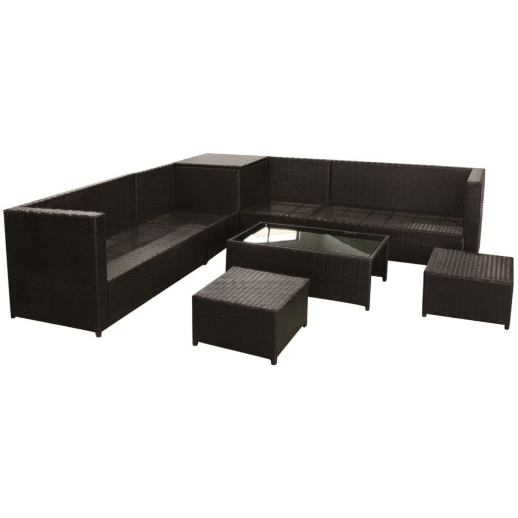 8 Piece Garden Lounge Set with Cushions Poly Rattan Brown 4