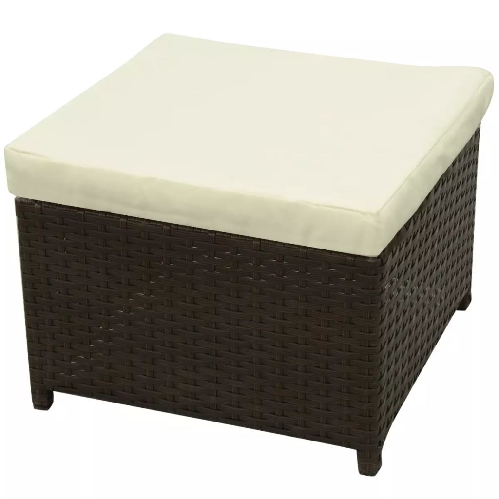 8 Piece Garden Lounge Set with Cushions Poly Rattan Brown 5