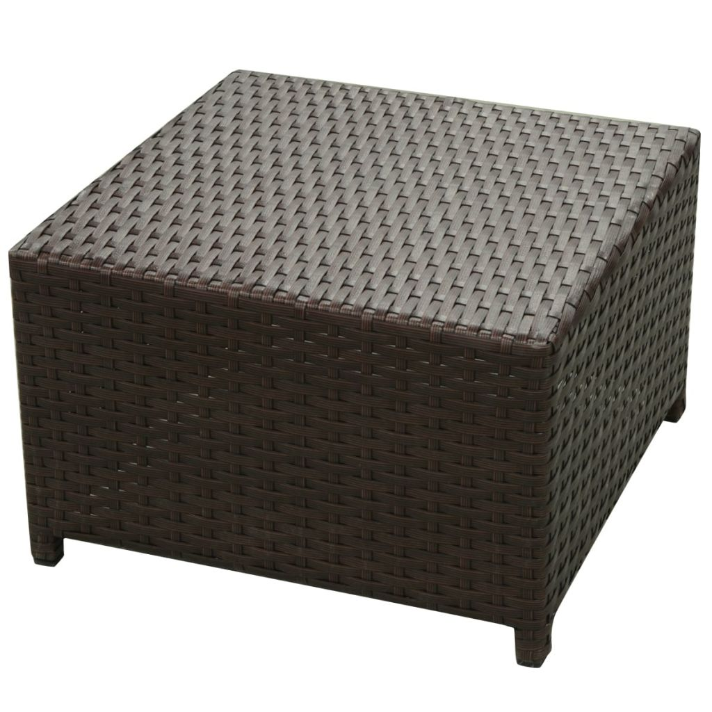 8 Piece Garden Lounge Set with Cushions Poly Rattan Brown 8