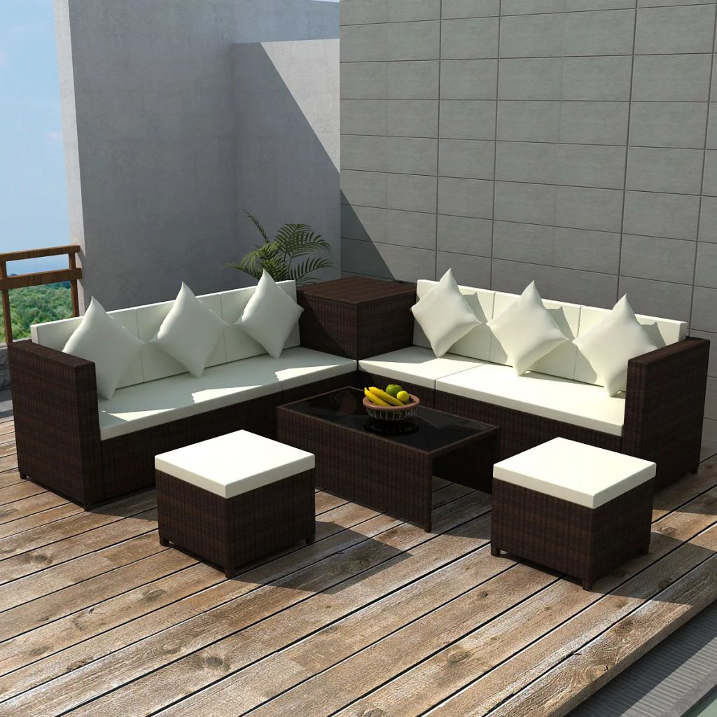 8 Piece Garden Lounge Set with Cushions Poly Rattan Brown 1