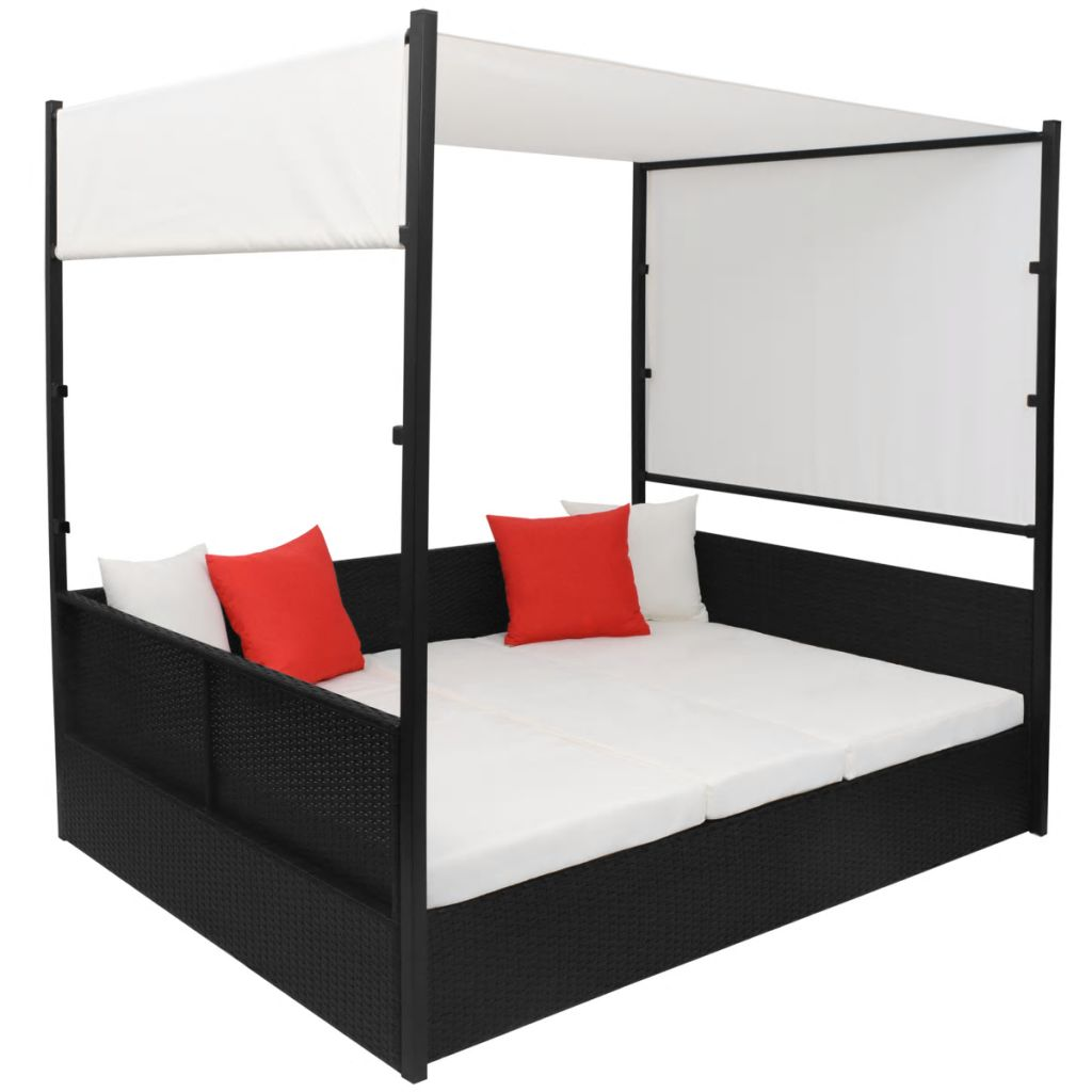Garden Bed with Canopy Black 190×130 cm Poly Rattan 3