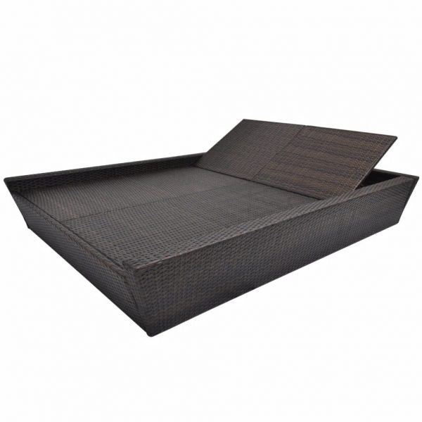 Outdoor Lounge Bed with Cushion Poly Rattan Brown 5