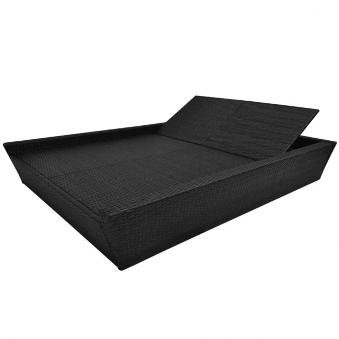 Outdoor Lounge Bed with Cushion Poly Rattan Black 5