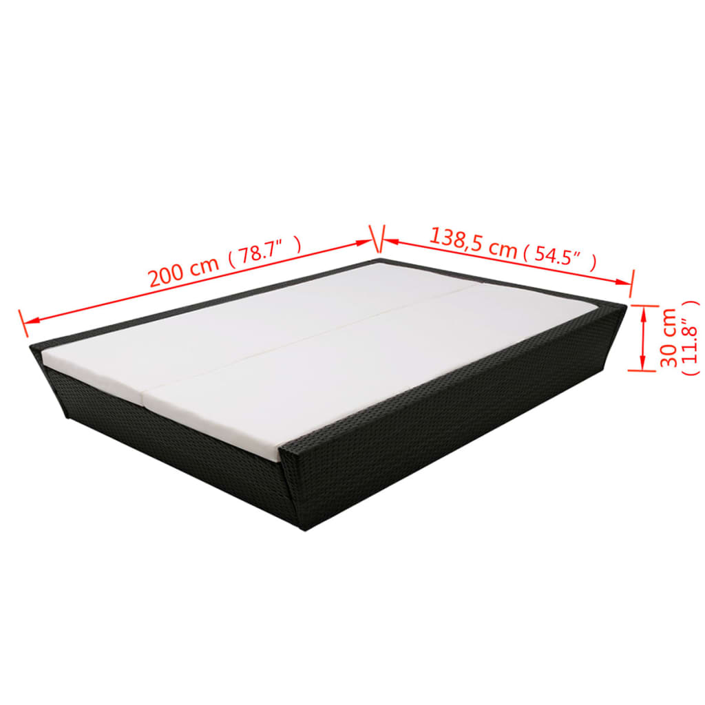 Outdoor Lounge Bed with Cushion Poly Rattan Black 8