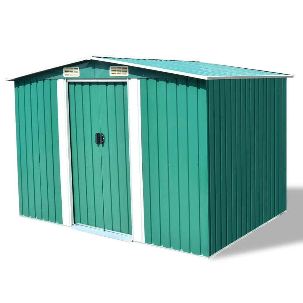 Garden Storage Shed Green Metal 257x205x178 cm 1
