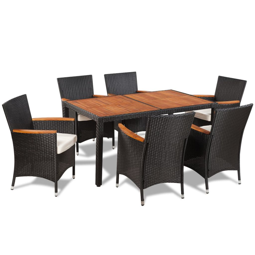 7 Piece Outdoor Dining Set with Cushions Poly Rattan 2