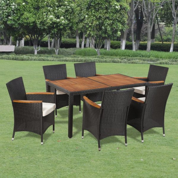 7 Piece Outdoor Dining Set with Cushions Poly Rattan 1