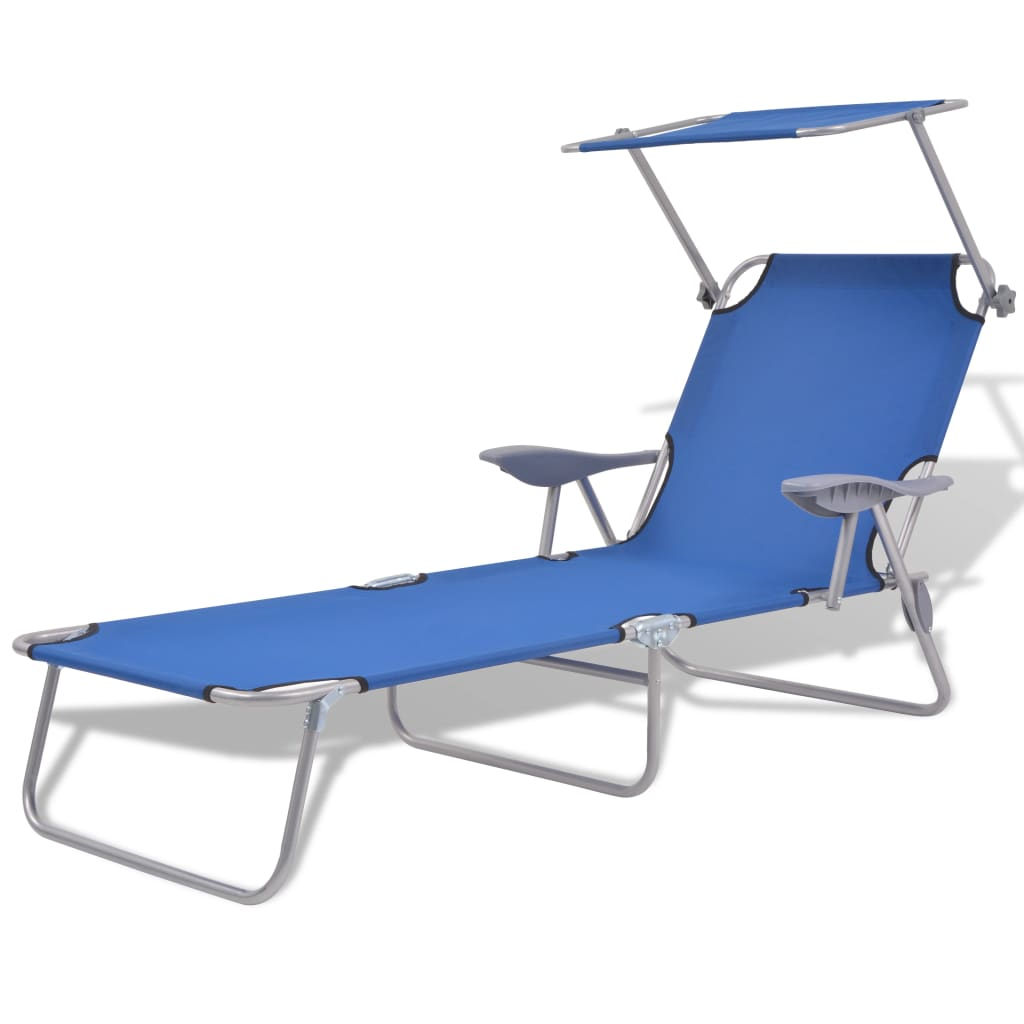 Sun Lounger with Canopy Steel Blue