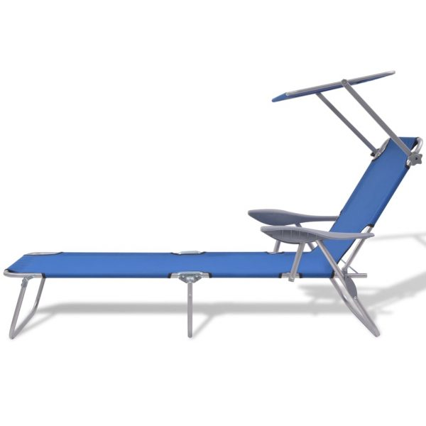 Sun Lounger with Canopy Steel Blue 2