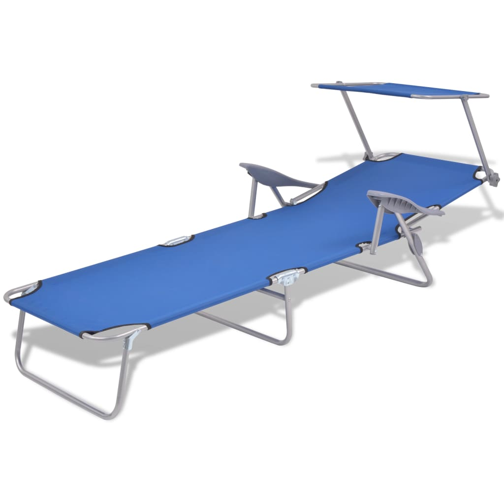 Sun Lounger with Canopy Steel Blue 3
