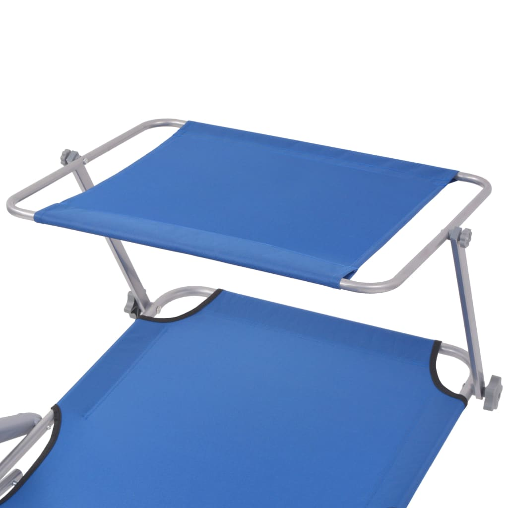 Sun Lounger with Canopy Steel Blue 4