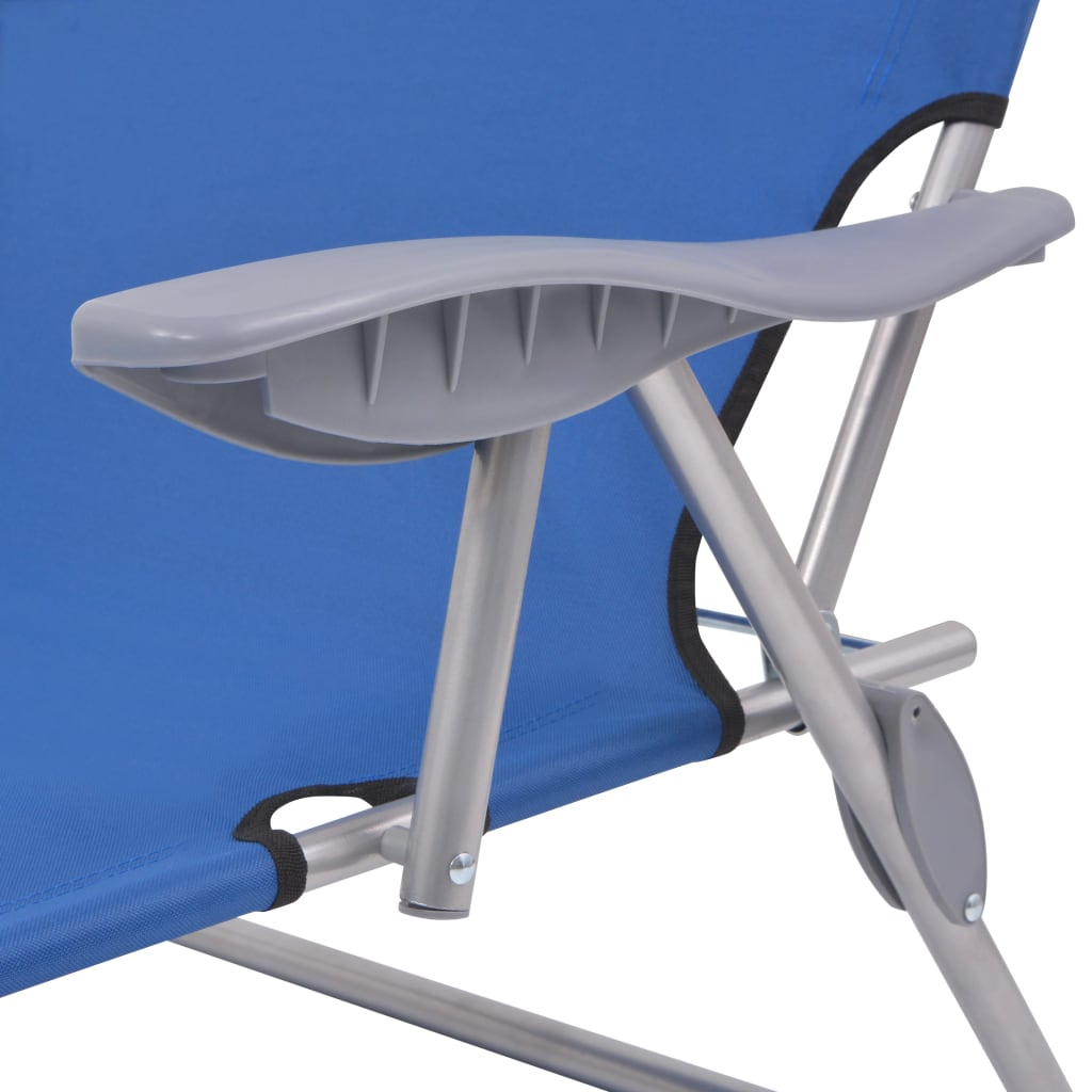 Sun Lounger with Canopy Steel Blue 5