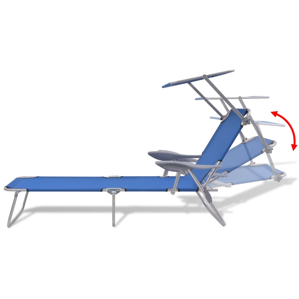 Sun Lounger with Canopy Steel Blue 6