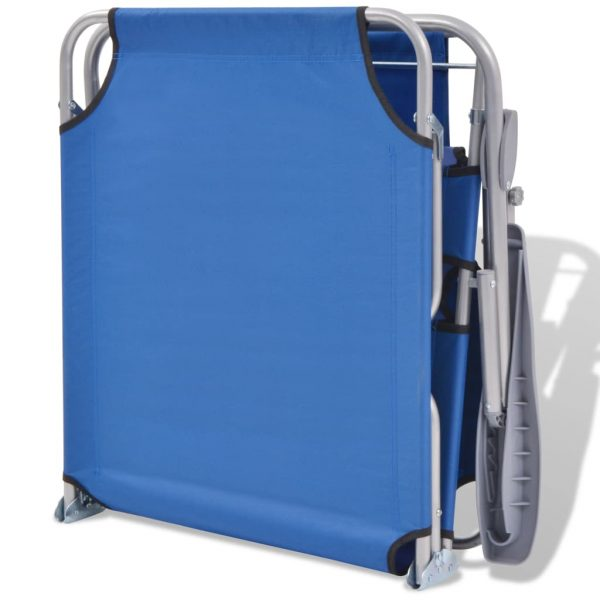 Sun Lounger with Canopy Steel Blue 7