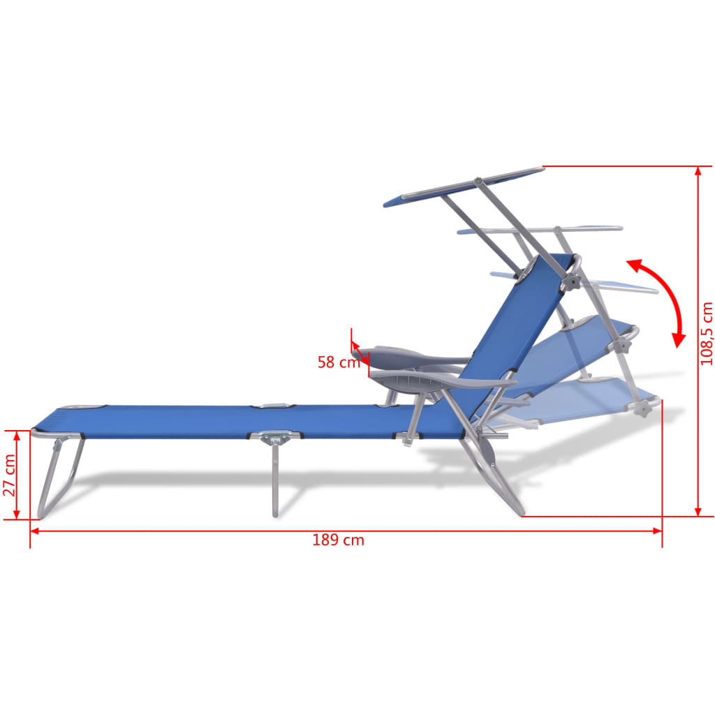 Sun Lounger with Canopy Steel Blue 8