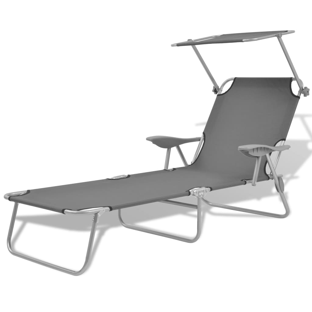 Sun Lounger with Canopy Steel Grey 1
