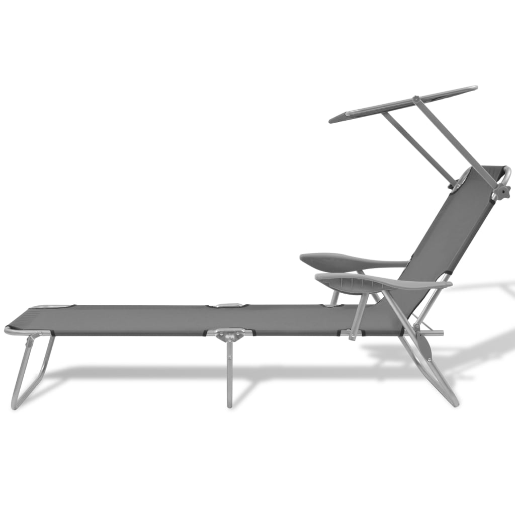 Sun Lounger with Canopy Steel Grey 2
