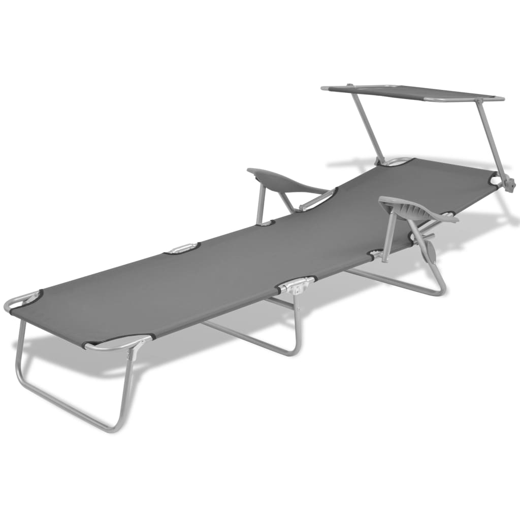Sun Lounger with Canopy Steel Grey 3