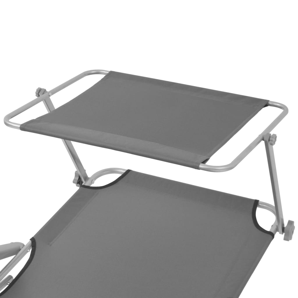 Sun Lounger with Canopy Steel Grey 4