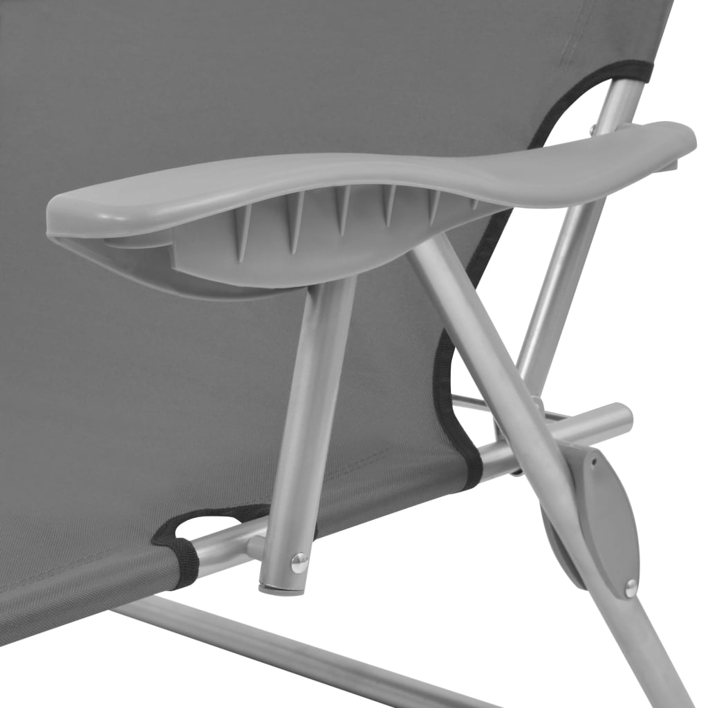 Sun Lounger with Canopy Steel Grey 5