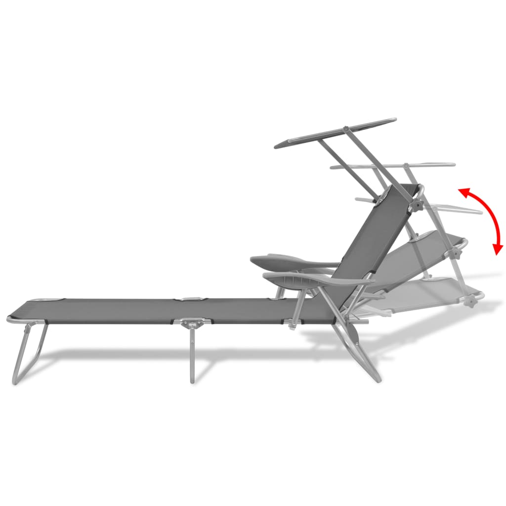 Sun Lounger with Canopy Steel Grey 6