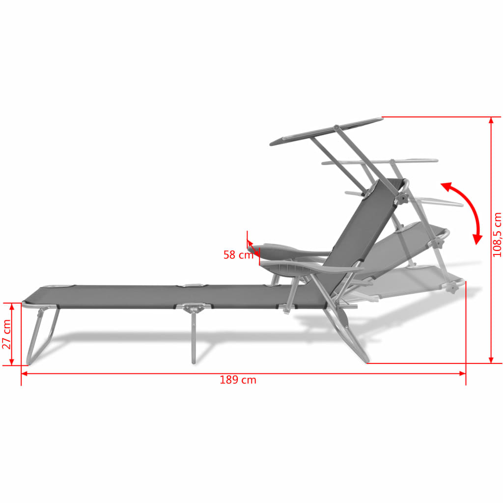Sun Lounger with Canopy Steel Grey 8