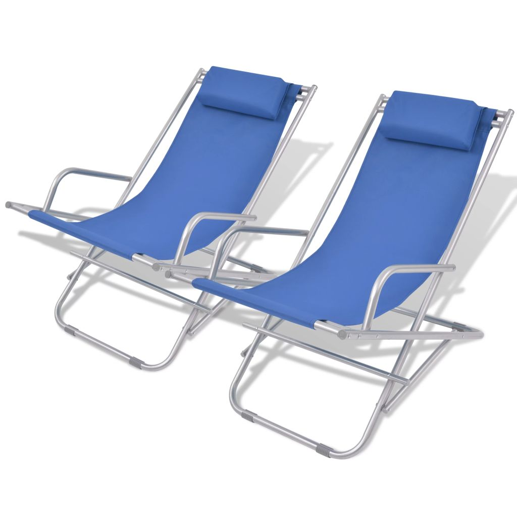 Reclining Deck Chairs 2 pcs Steel Blue 1