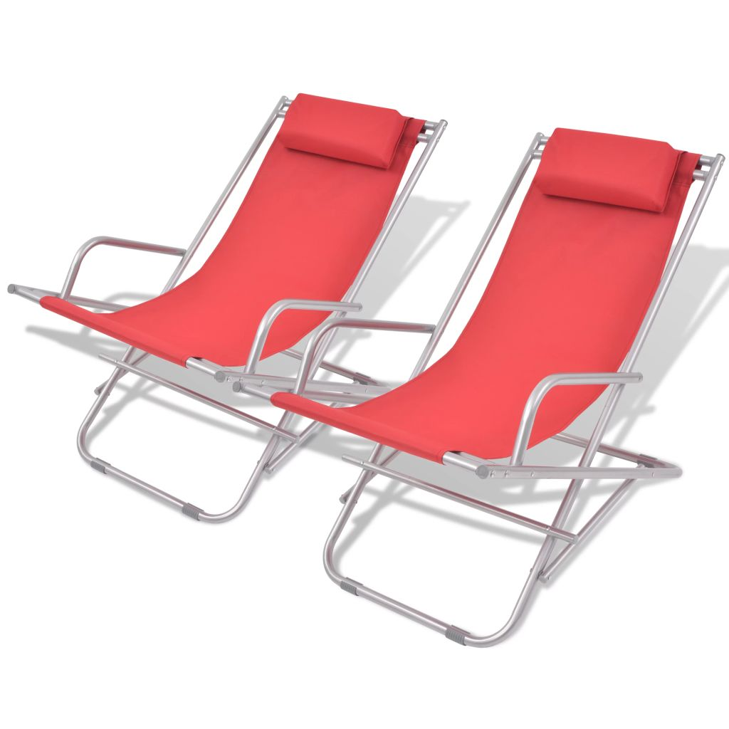 Reclining Deck Chairs 2 pcs Steel Red 1