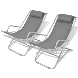 Reclining Deck Chairs 2 pcs Steel Grey 1