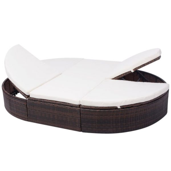 Outdoor Lounge Bed with Cushion Poly Rattan Brown 2