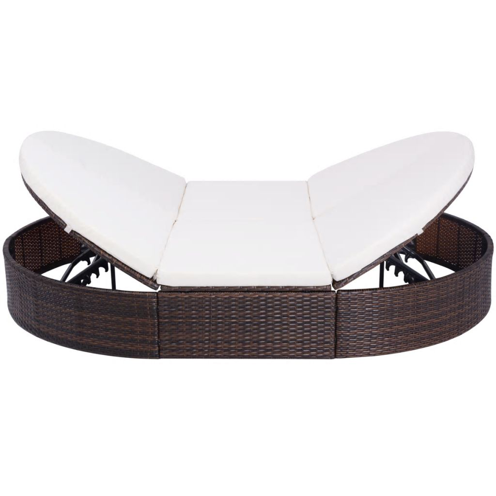 Outdoor Lounge Bed with Cushion Poly Rattan Brown 3
