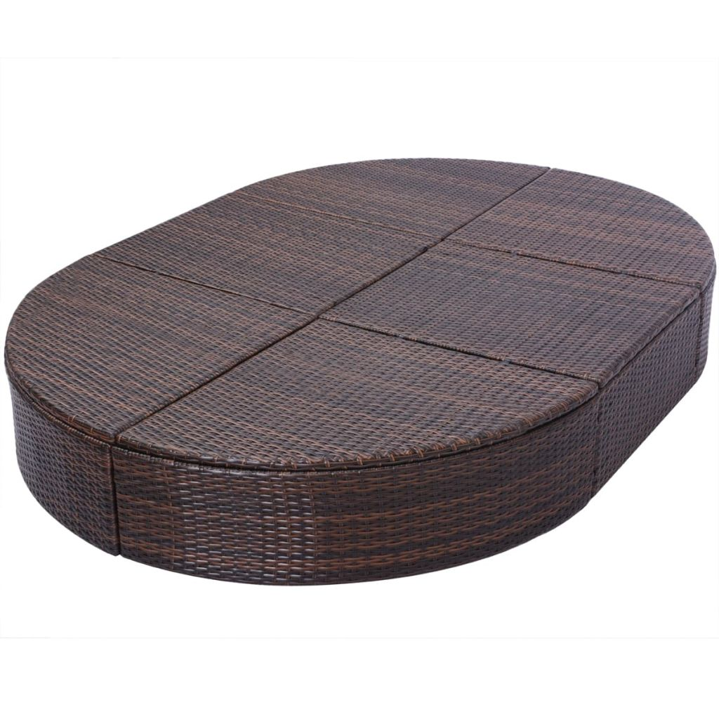 Outdoor Lounge Bed with Cushion Poly Rattan Brown 7