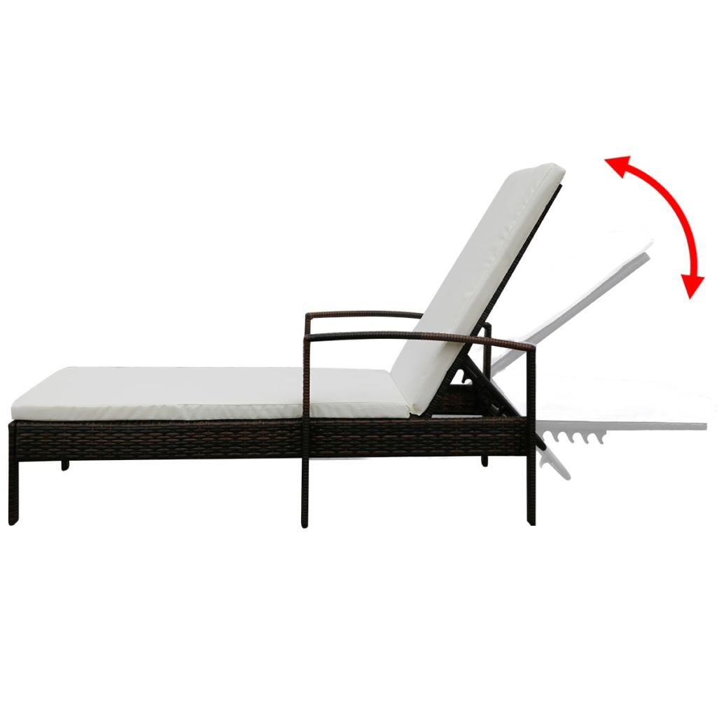 Sun Lounger with Cushion Poly Rattan Brown 5