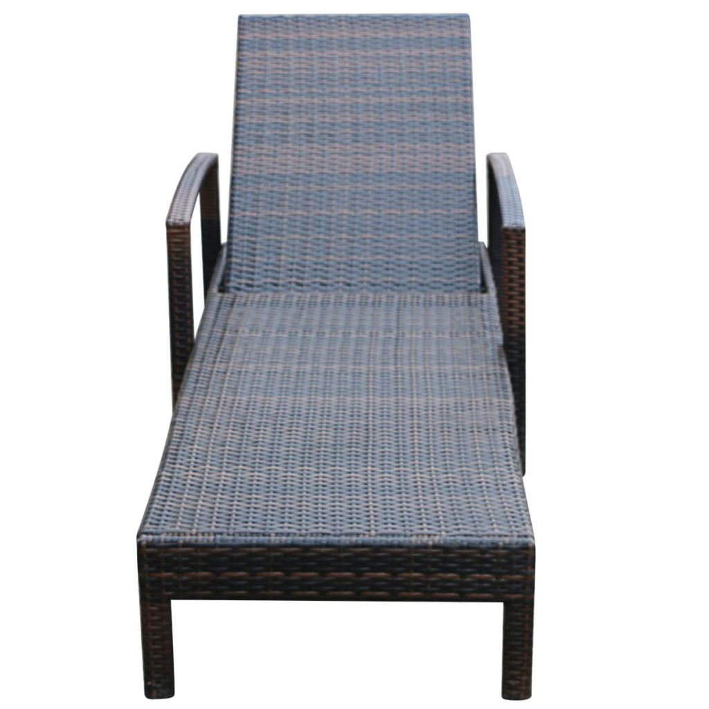 Sun Lounger with Cushion Poly Rattan Brown 6