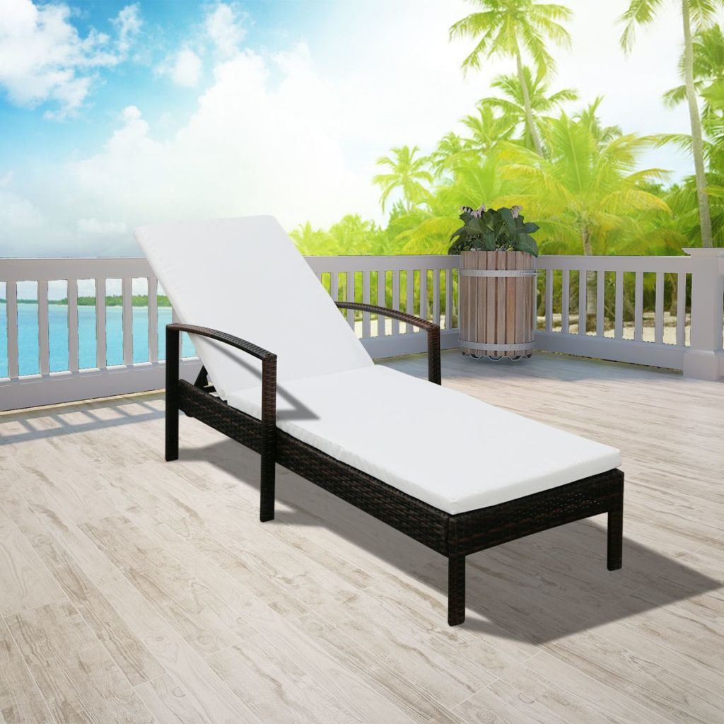 Sun Lounger with Cushion Poly Rattan Brown