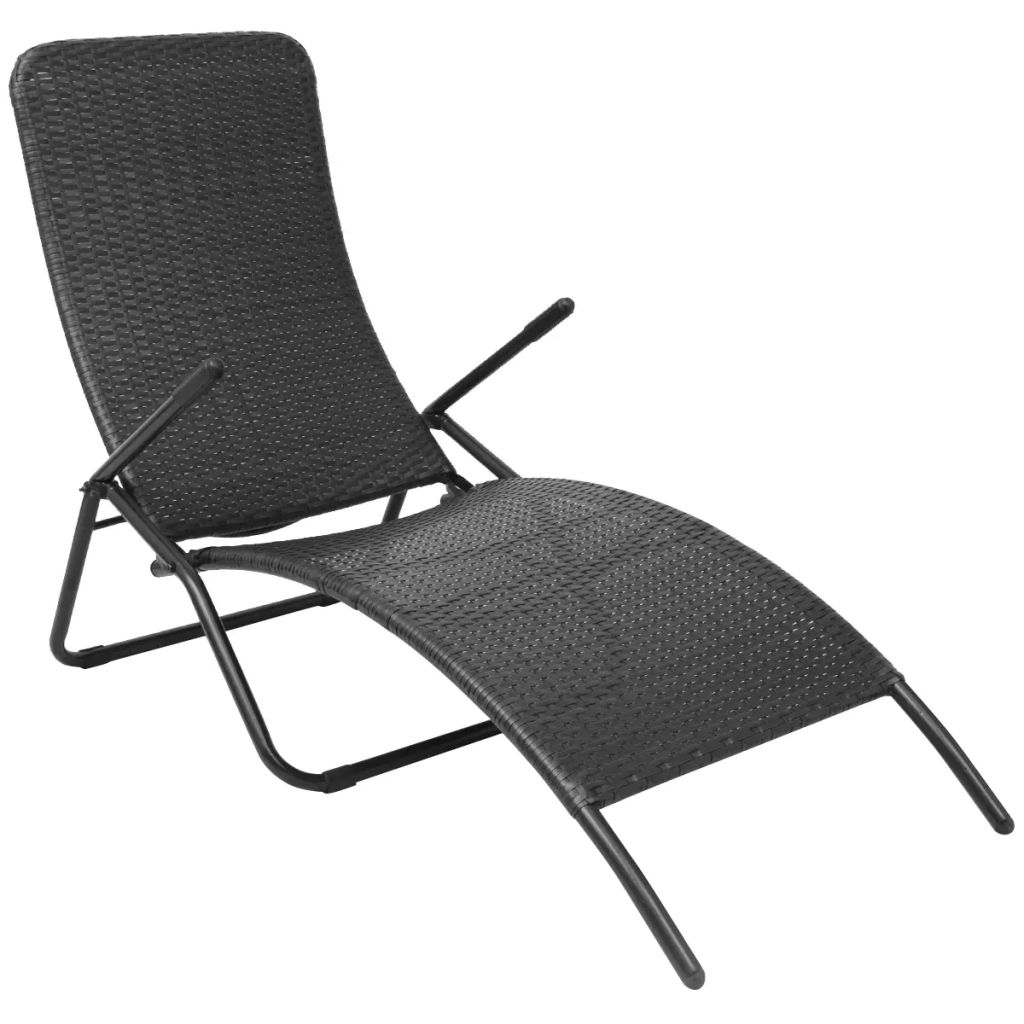 Folding Sun Lounger Poly Rattan Black 1