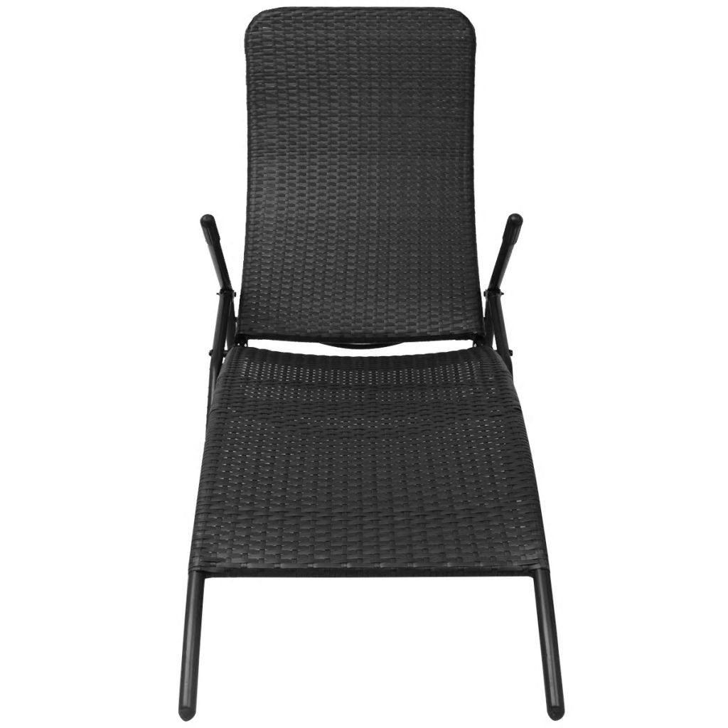 Folding Sun Lounger Poly Rattan Black 2