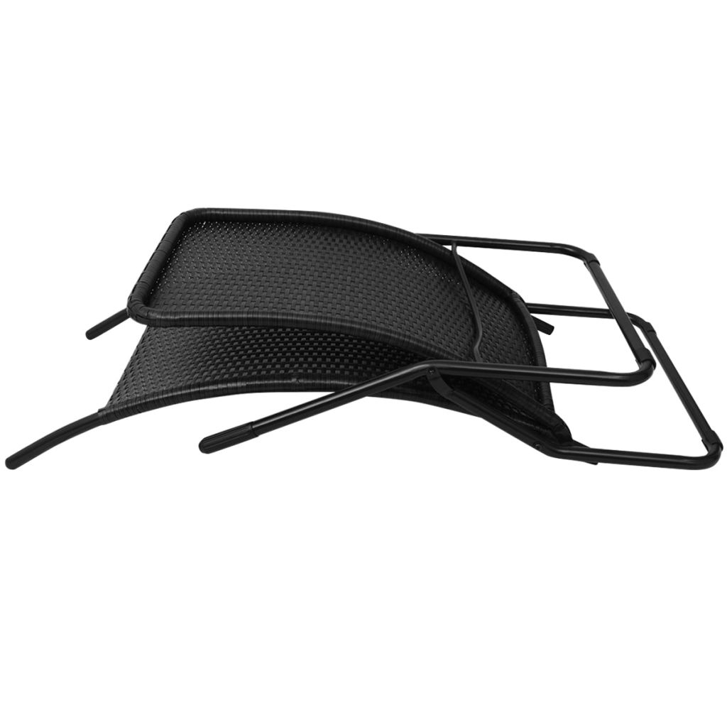 Folding Sun Lounger Poly Rattan Black 5